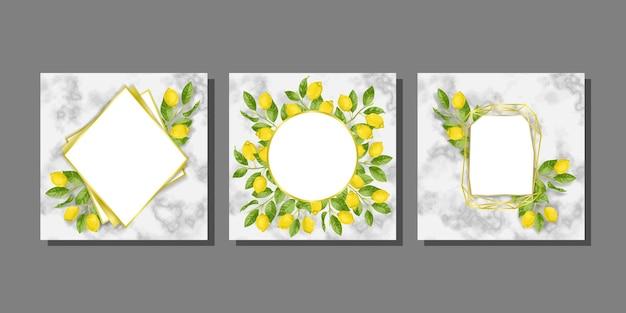 Modèles sur fond de marbre avec des brunchs au citron dans un style aquarelle