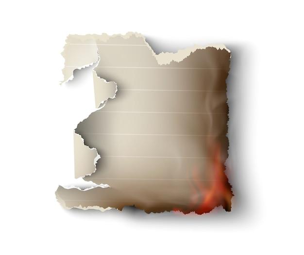 Modèles de gravure de conception transparente papier déchiré avec feu