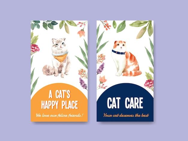 Modèles d'histoire instagram avec des chats mignons