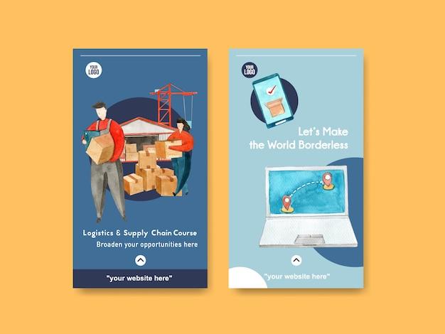 Modèles D'histoire Instagram De Logistique Vecteur gratuit