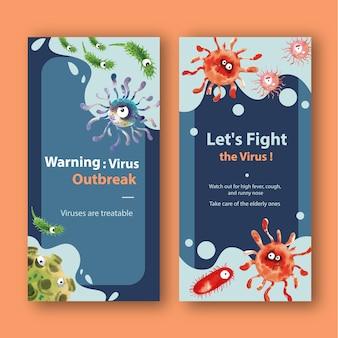 Modèles d'histoire d'instruments de virus dans un style aquarelle