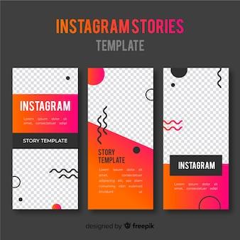 Modèles d'histoires instagram avec cadre vide