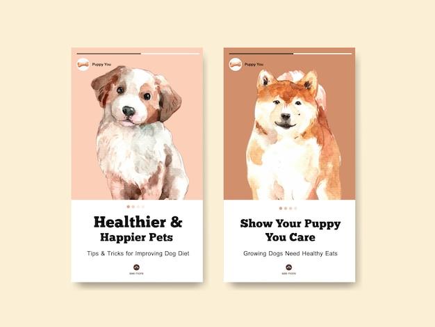 Modèles d'histoires instagram avec des chiens