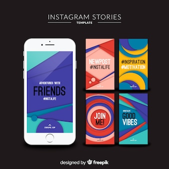 Modèles d'histoires instagram colorés