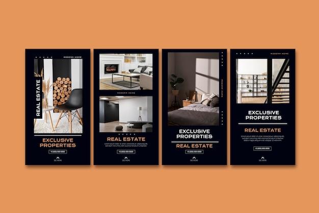 Modèles d'histoires instagram pour l'immobilier plat