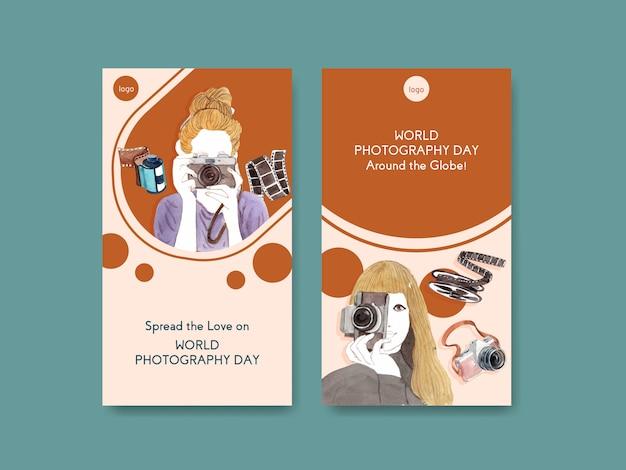 Modèles d'histoires instagram pour la journée mondiale de la photographie