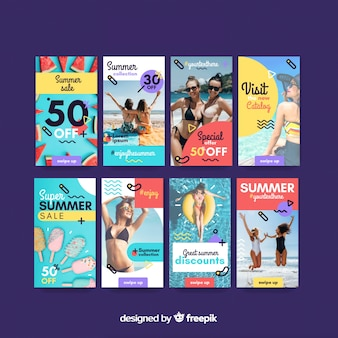 Modèles d'histoires instagram avec soldes d'été