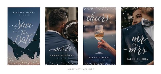 Modèles d'histoires de mariage instagram avec des signes de calligraphie en argent