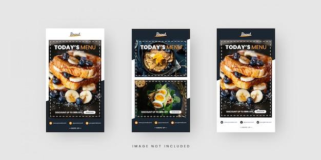 Modèles d'histoires sur les réseaux sociaux alimentaires
