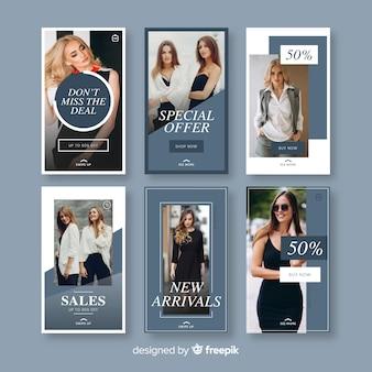 Modèles de histoires de vente de mode instagram