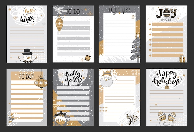 Modèles d'hiver pour les notes, à faire et à acheter des listes.