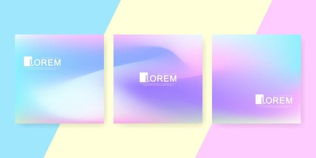 Modèles holographiques d'art dégradé coloré pastel de maquette carré abstrait à la mode. convient aux publications sur les réseaux sociaux, aux applications mobiles, à la conception de bannières et aux publicités sur internet. milieux de mode de vecteur.