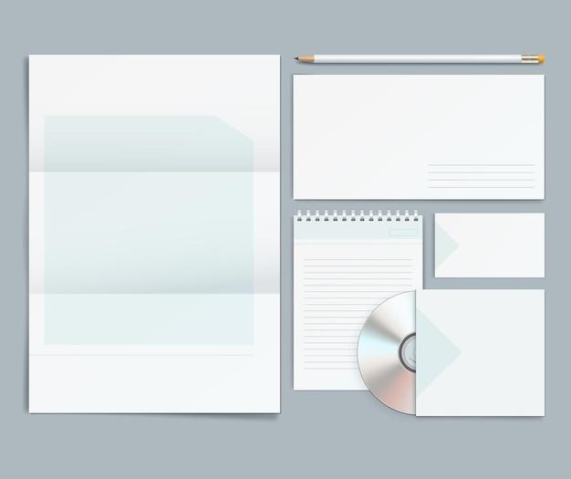 Modèles d'identité d'entreprise de vecteur. papier à en-tête, enveloppe, carte de visite, crayons, cd.