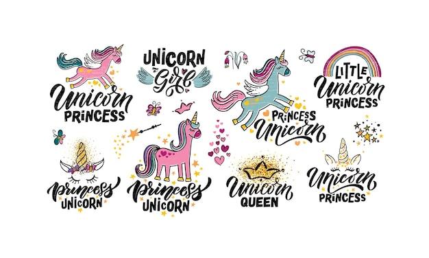 Modèles d'illustration vectorielle de licorne esquissés à la main avec des citations de typographie de lettrage motivantes