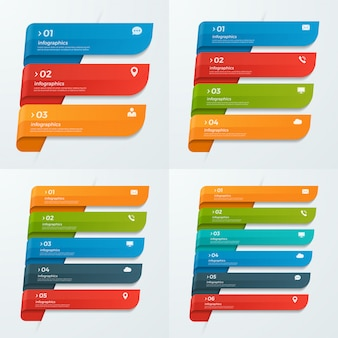 Modèles d'infographie avec rubans 3-6 options
