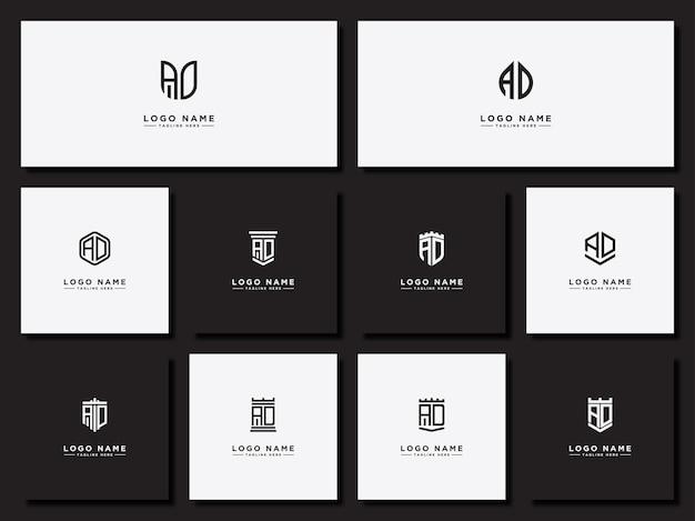 Modèles initiaux de logo de lettres initiales ad