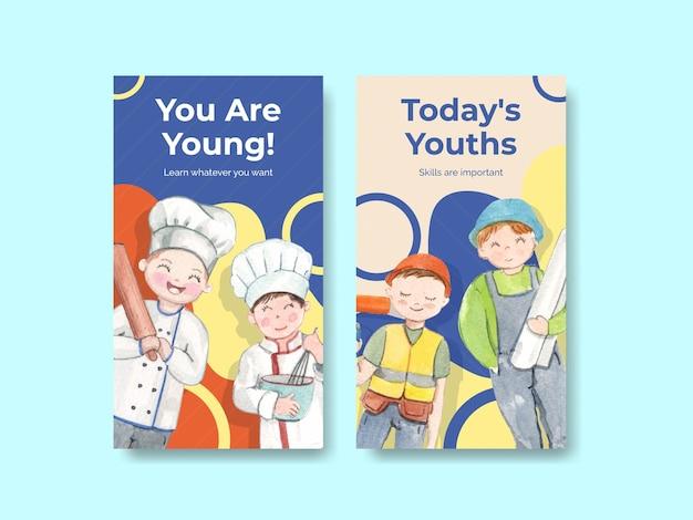 Modèles instagram définis avec le concept de la journée mondiale des compétences de la jeunesse, style aquarelle