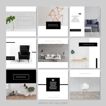 Modèles instagram minimalistes en noir et blanc.