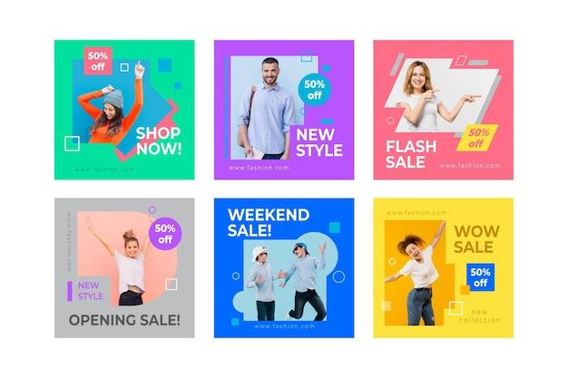 Modèles instagram de vente de modèles colorés