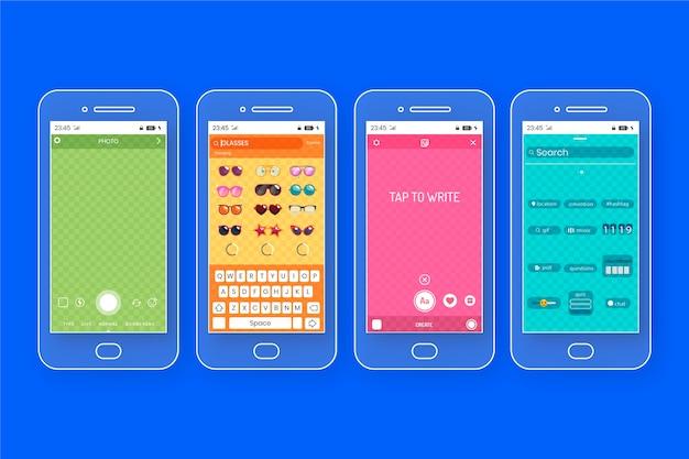 Modèles d'interface d'histoires colorées instagram