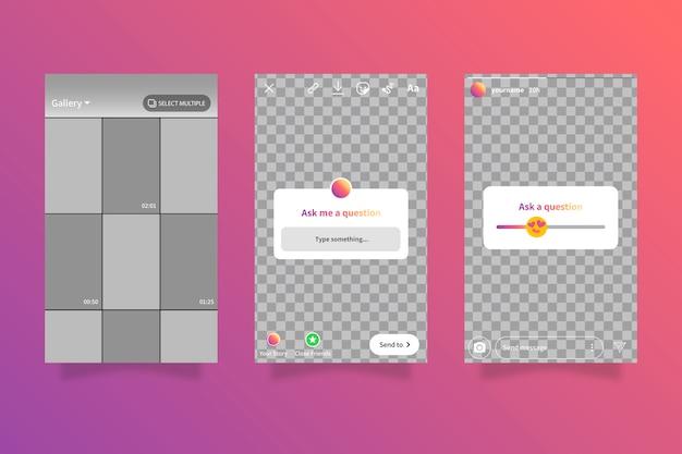 Modèles d'interface d'histoires instagram
