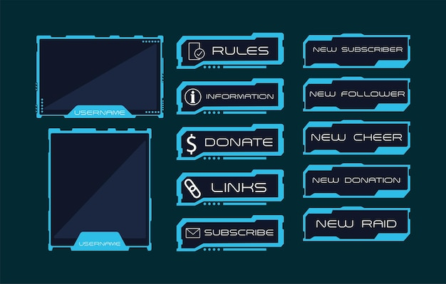 Modèles d'interface de streaming bleu