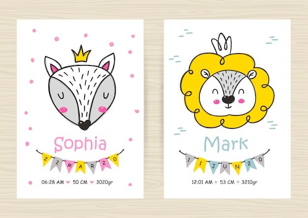 Modèles d'invitation de douche de bébé avec lion et renard