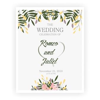 Modèles d'invitation de mariage de belle fleur cadre