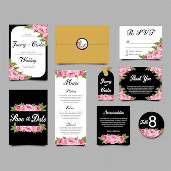 Modèles d'invitation de mariage cadre fleur