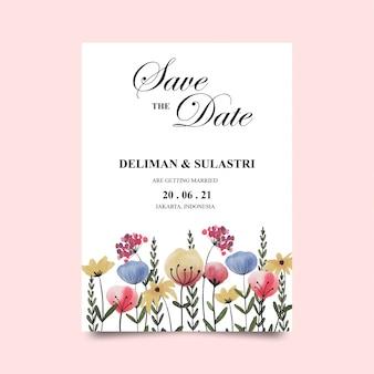 Modèles d'invitation de mariage avec des décorations de fleurs aquarelles colorées