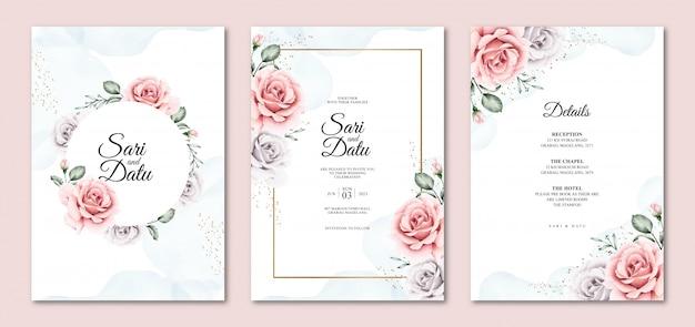 Modèles d'invitation de mariage floral aquarelle magnifique