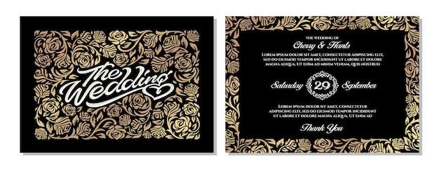 Modèles d'invitation de mariage de luxe avec des ornements de roses dorées