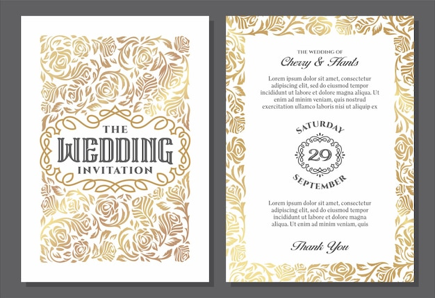 Modèles d'invitation de mariage vintage conception de la couverture avec des ornements de roses d'or vecteur traditionnel à la lumière