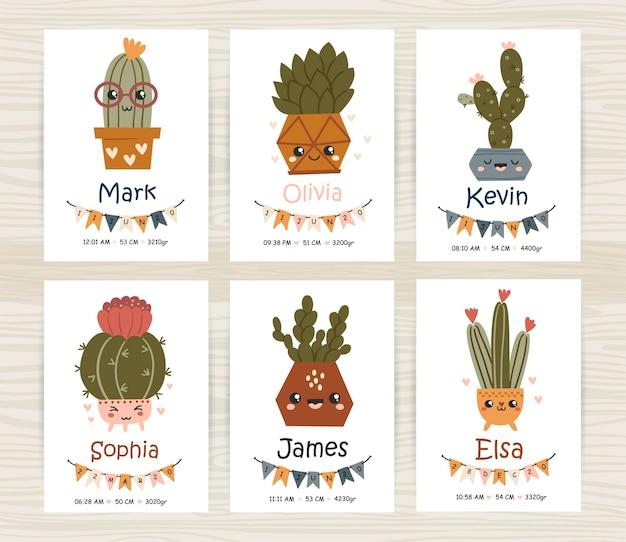 Modèles d'invitations de douche de bébé avec des cactus mignons