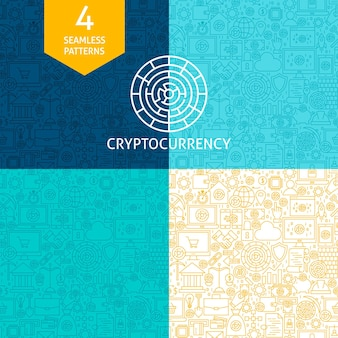 Modèles de ligne de crypto-monnaie. quatre arrière-plans sans soudure de conception de site web de vecteur. bitcoin finance.