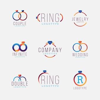 Modèles de logo de bague design dégradé créatif