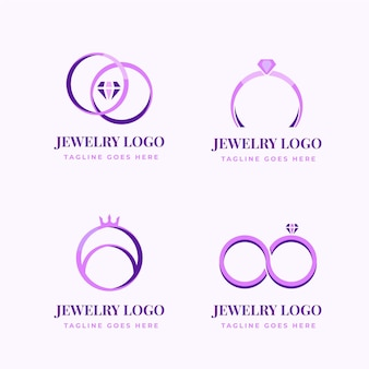 Modèles de logo de bague design plat créatif