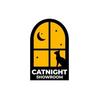 Modèles de logo cat night windows