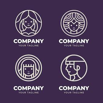 Modèles de logo de déesse linéaire
