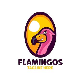 Modèles de logo de dessin animé de flamants roses