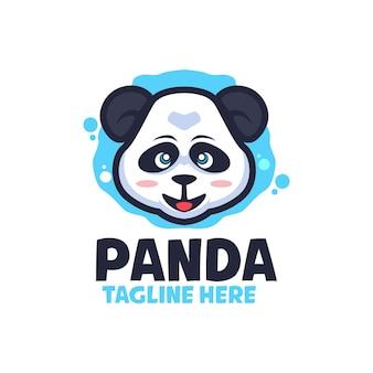 Modèles de logo de dessin animé happy panda