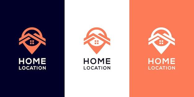 Modèles de logo d'emplacement à domicile et conception de cartes de visite