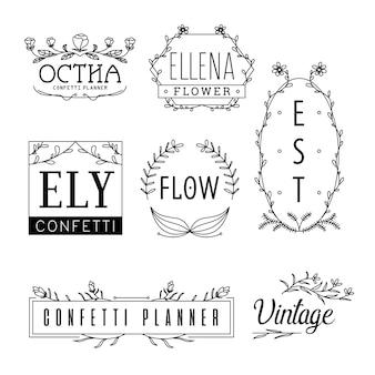 Modèles de logo de fleur concept de fleuriste féminin