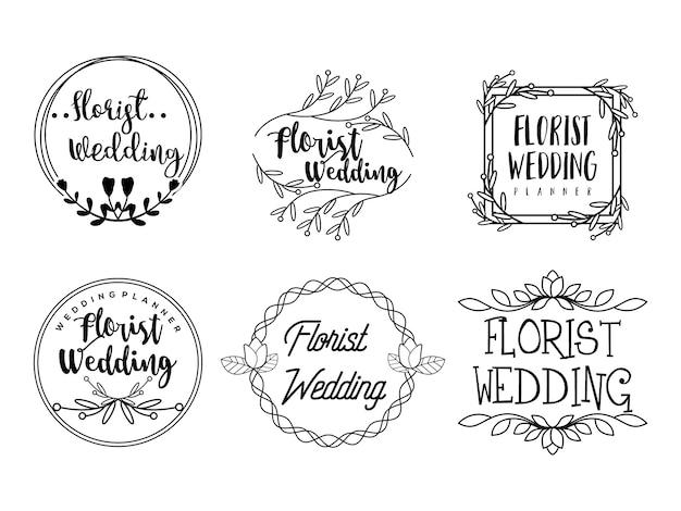 Modèles de logo de fleur féminin fleuriste wedding planner