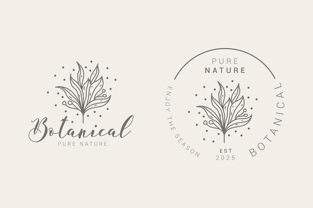 Modèles de logo floral dessinés à la main botanique