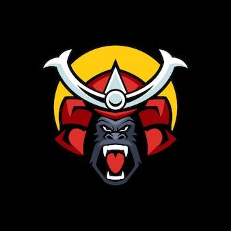 Modèles de logo de gorille samouraï en colère