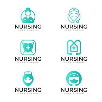Modèles de logo d'infirmière dégradé