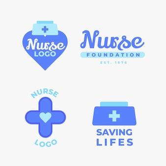 Modèles de logo d'infirmière design plat