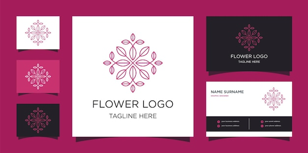 Modèles de logo de ligne de fleur minimaliste et conception de cartes de visite