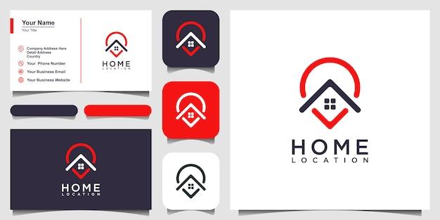 Modèles de logo de localisation de domicile et conception de cartes de visite